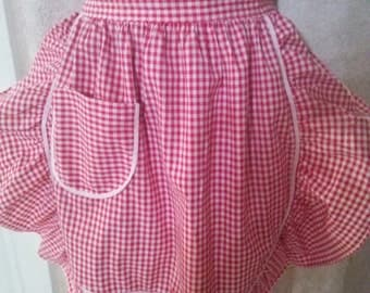 Vintage Red and White Ruffled Gingham Apron