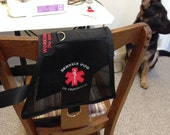Cape style, Handmade Service Dog in Training vest, 3D Air Mesh Fabric Size Medium, unisex, embroidered logo, D rings