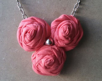 Sale! Rolled Fabric Flower Necklace Coral