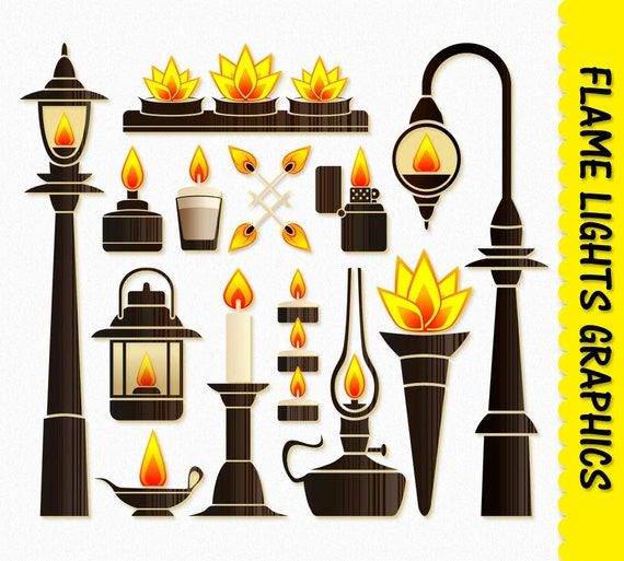 Fire Flame Lights Clip Art Graphic Clipart Scrapbook Candle Lamp Torch Lantern Digital Download Transparent PNG Printable Vector From