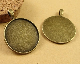 40PCS Antique Bronzed Toned Blank Pendant Trays Round Bezel Cabochon Settings, 30mm- XA3540