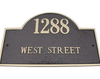 Majestic MFG Aluminum or Brass Arch Marker Address Plaques House Numbers ** Made in the USA ** ** Free Shipping**