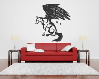 Wall Vinyl Sticker Decals Mural Room Design Dogs Animals Wolf Wings Pet  bo073