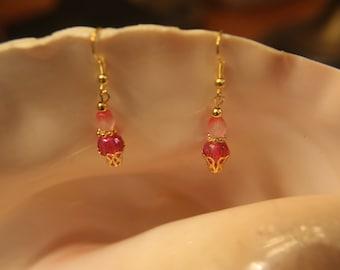 Dainty Pink Dangle Earrings #1442