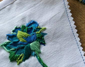 vintage blue and green embroidered bunting
