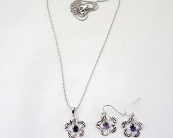White Gold Necklace Set, Diamond Cut necklace set with purple teardrop dangle stone,