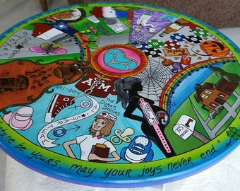 Colorful Custom Lazy Susan/Themed and Custom designed/Meaningful heart felt timepiece/Hand painted, etched and designed