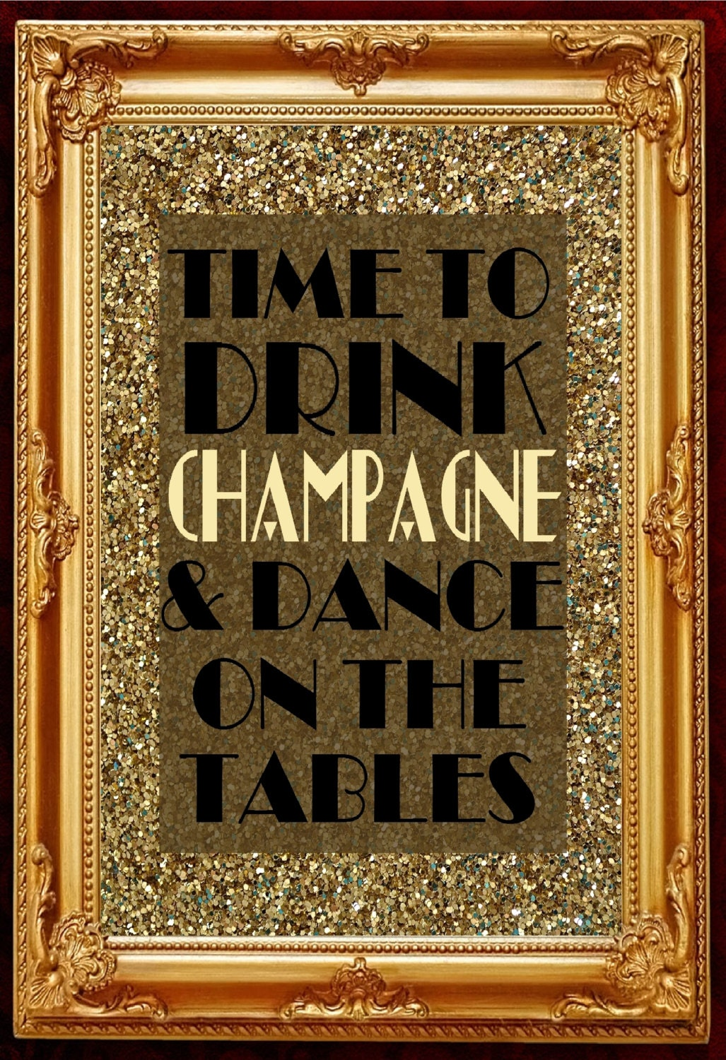 Gatsby party decoration wall art printable poster slogan time - Deco table campagne ...