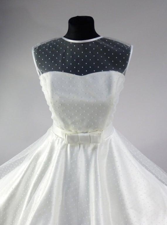 Swiss Dot Tulle Sweetheart Dress Rockabilly Vintage Style