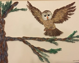 SOLD.....Quilled wall art, paper quilled art, paper art, quilling paper, paper quilling , quilled owl(SOLD)