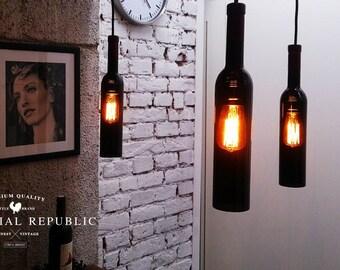 Bottle Lamp, Pendant light, Pendant Lighting, Lighting, Industrial, Bottle Hanging Lamp, Wine bottle, Chandelier, Hanging lamp