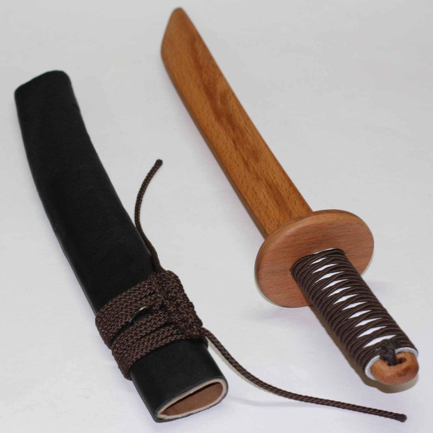 Toys For Knives : Toy wooden knife tanto with leather sheath