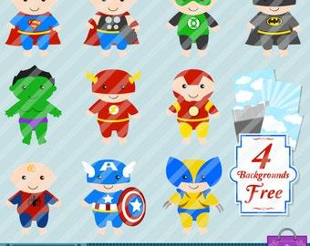 SUMMER 25% OFF action Baby Super Heroes Clipart - Action Baby Super Hero clip art Scrapbook