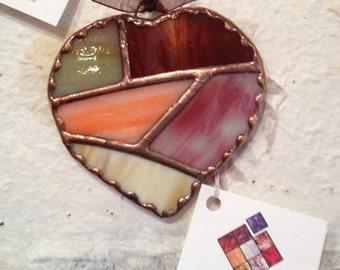 Patchwork Quilt Heart Suncatcher Stained Glass Valentine Ornament