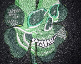 Clover Skull  3.75 x 3 inch iron on  or sew on patch