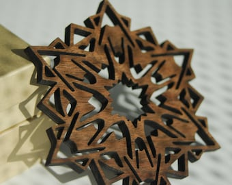 Wooden Snowflake Ornament - Walnut - Mountains