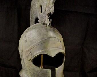 Pegasus and Griffin helmet ancient Greek marble based great helmet