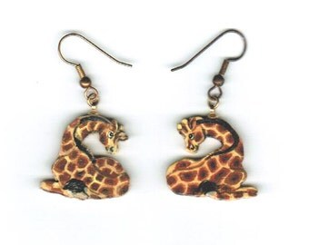Giraffe Earrings Original Hand Painted