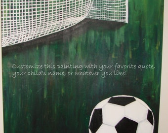 "Futbol.  24 x 30""  Original Hand painted acrylic on canvas.  Cusomize with your favorite quote!"