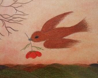 Bird Card: Poppy Card, Spiritual Bird Card, Hope Card, Get Well Card, Bird Flower Card, Blank Bird Card, Spiritual Art Card, Sympathy Card
