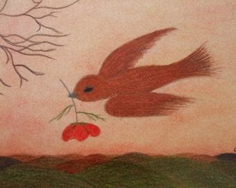 Bird Card, Get Well, Poppy Card, Spiritual Card, Hope Card, Bird Flower Card, Sympathy Card, Poppy, Sorry Card, Bird Congratulations Card