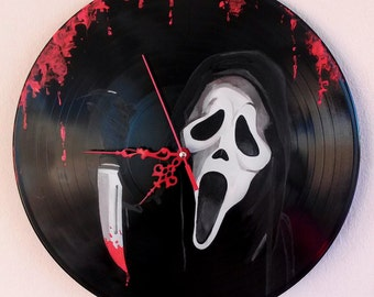 Scream,hand painted vinyl record clock