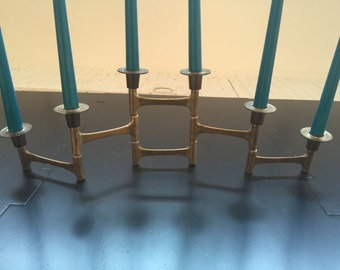 MCM Mid Century Modern Brass Tier Expandable Candle Holder