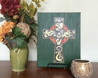 Acrylic Painting, Cross with Intricate Gold Detailing