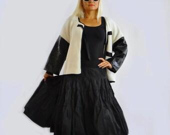 Woman Black Casual Skirt Pleated knee length Skirt long Maxi Taffeta Skirt Black skirt Jipsy sircle Black skirt Handmade long skirt/S1306