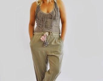 Linen pants/Woman handmade pants/Casual linen pants/Beige woman pants/Harem pants/Long Wide Leg Pants/Eco friendly woman pants/Gabyga/P1310