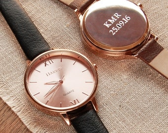 Engraved Ladies' Leather Strap Watch (2 line) ~ Personalised Anniversary, Birthday Gift