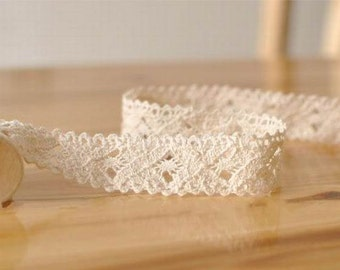 SALE 2.2cm Cotton Lace Fabric Trim Beige Ribbon Trim for Wedding,Clothes 1 Yard r15