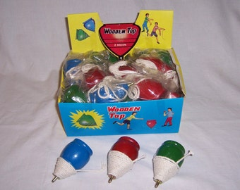 1960S Wood Spinning Top Classic & Vintage toys Pick your color!