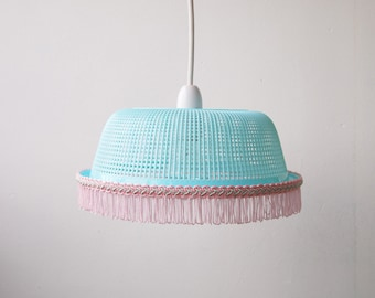 Mint Green Lampshade with Baby Pink Fringing <3