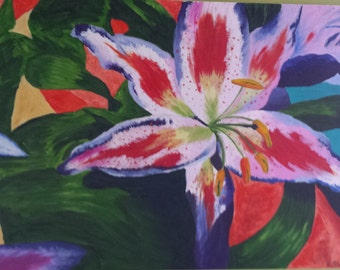 Stargazer Lily painting in oil on canvas
