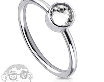 20G Stainless Steel CZ Diamond Nose Ring