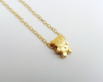 Teddy Bear necklace, Teddy Bear pendant,  dainty necklace, tiny pendant, Made in Greece charm