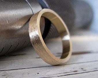 Man Wedding Band Man Wedding Ring Mens Wedding Band Mens Wedding Ring Brushed Gold Wedding Band Rustic Wedding 14K Gold Ring 4mm Flat Edge