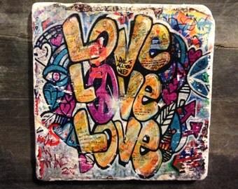 Love Love Love Graffiti Coaster or Decor Accent