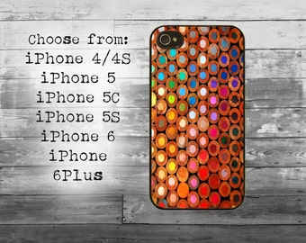 Color pencils phone cover - iPhone 4/4S, iPhone 5/5S/5C, iPhone 6/6+, iPhone 6s/6s Plus case - pencil cell iPhone case