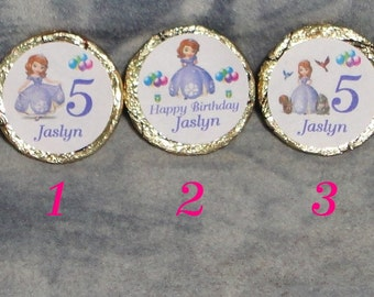 96 Custom Made Sofia The First  Birthday Kiss candy/Mini bubbles labels@* Peel & Stick
