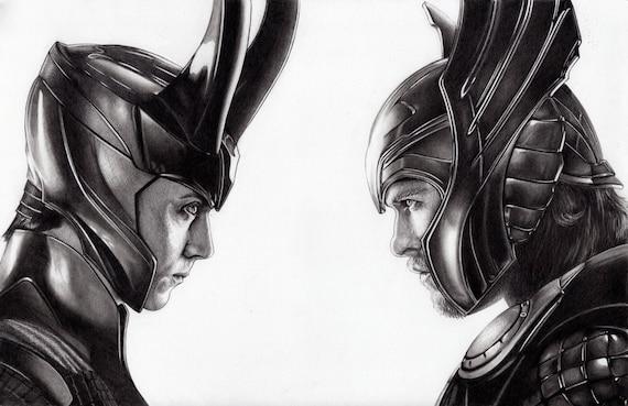 11 X 17 Portrait Dessin De Thor Et Loki. Grande Attention Aux