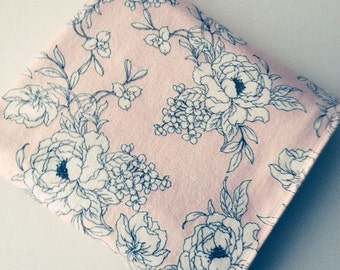 Pale pink, sophisticated print, double thick baby flannel blanket