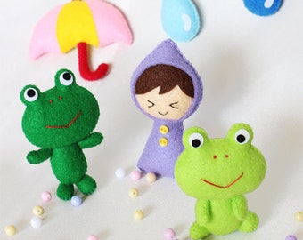 Frog,Frog mobile,Forg doll,Girl doll,Umbrella doll,Baby mobile,Mobile,Felt Mobile,Stuffed toys,Stuffed girl,Soft toys