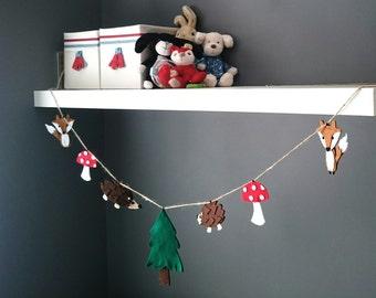 Woodland Bunting, Garland - Fox, Hedgehog, Toadstool, Tree - Children/Baby/Nursery/Bedroom, Felt