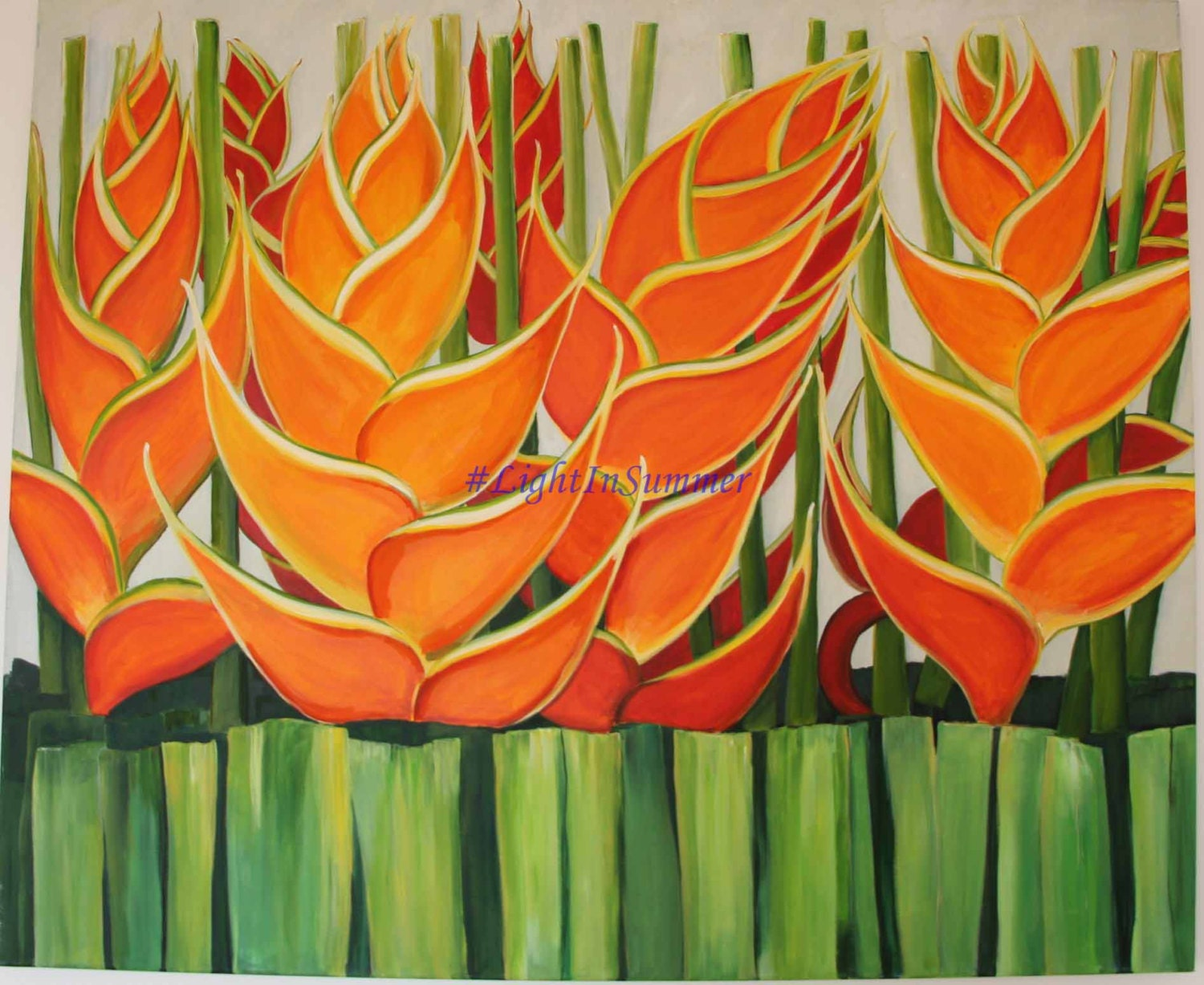 Tropical flowers large statement acrylic painting by for Painting large flowers in acrylic