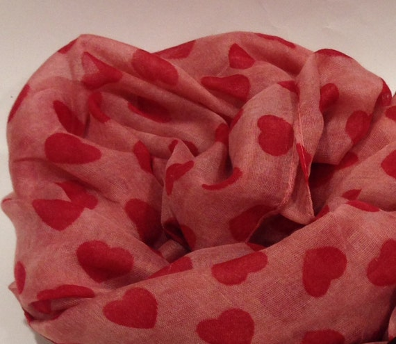 Mothers Day Gift Hearts Scarf Red Scarf Gift For Her Red Hearts Scarf Red Summer Scarf Teen Scarf Holiday Fashion Red Soft Scarf