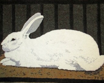 """Rabbit Rug, 31.5""""x22.5""""  Designed and hooked by Judy Taylor"""