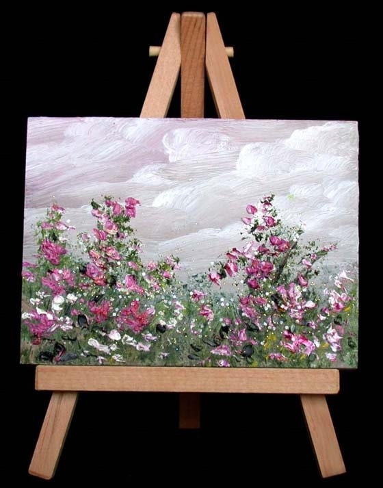 Garden Flowers Miniature Oil Painting 20 Orriginal 3x4