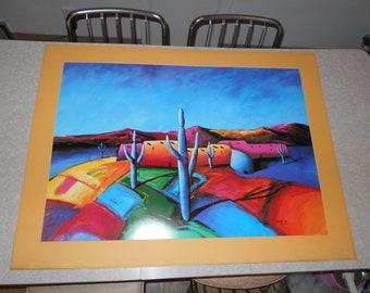 """1991 """"Valley of Brilliant Colors"""" Large Landscape Print by Artist Downe Burns"""